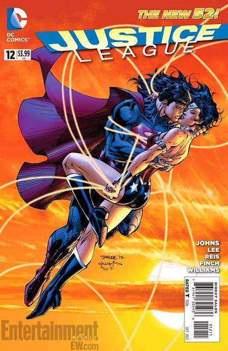 Superman y Wonder Woman besandose