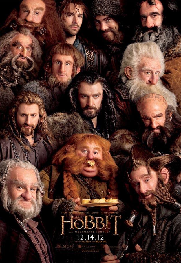 Póster con los 13 enanos liderados por Thorin y que acompañan a Bilbo y Gandalf en su misión