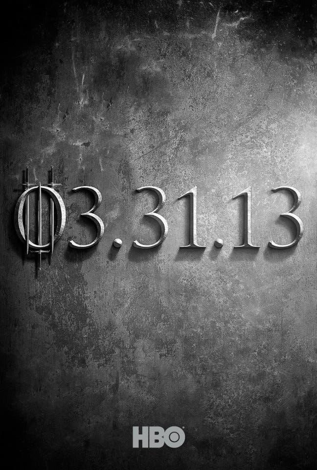 Teaser poster de la tercera temporada de juego de tronos