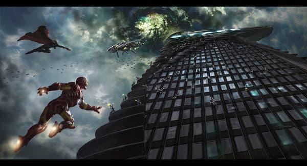 Thor y Iron Man luchando contra los Chitauri