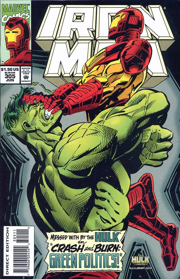Portada  Iron Man Nº 305. Iron Man vs Hulk