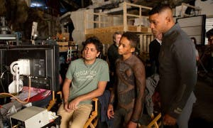 M. Night Shyamalan, con Jaden y Will Smith en el rodaje de 'After Earth'