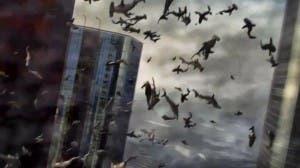 Fotograma de 'Sharknado'. Sí, los tiburones vuelan.