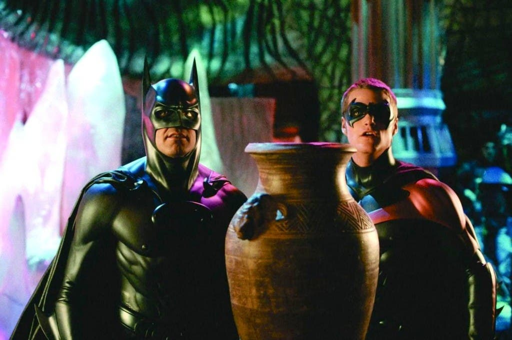 George Clooney como Batman junto a Chris O'Donnell como Robin en 'Batman y Robin'