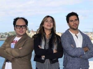 Eli Roth, junto a Nicolás López y Lorenza Izzo, ayer en Sitges