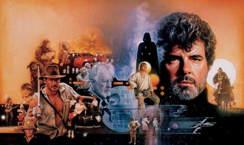 Ilustración de Drew Struzan dedicada a George Lucas