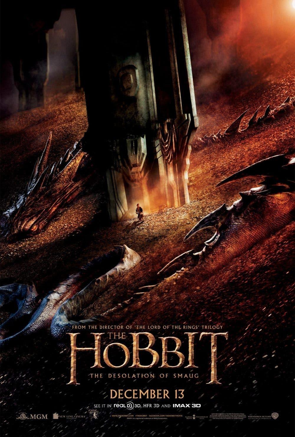 poster Bilbo y Smaug en El Hobbit la desolación de Smaug