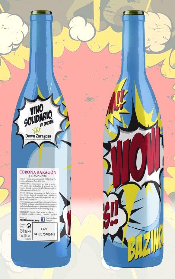 vinosolidario botella diseñada por Cinemascomics