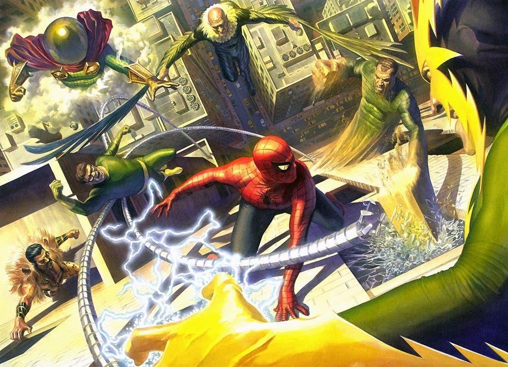 Imagen de los Seis siniestros contra Spider-man