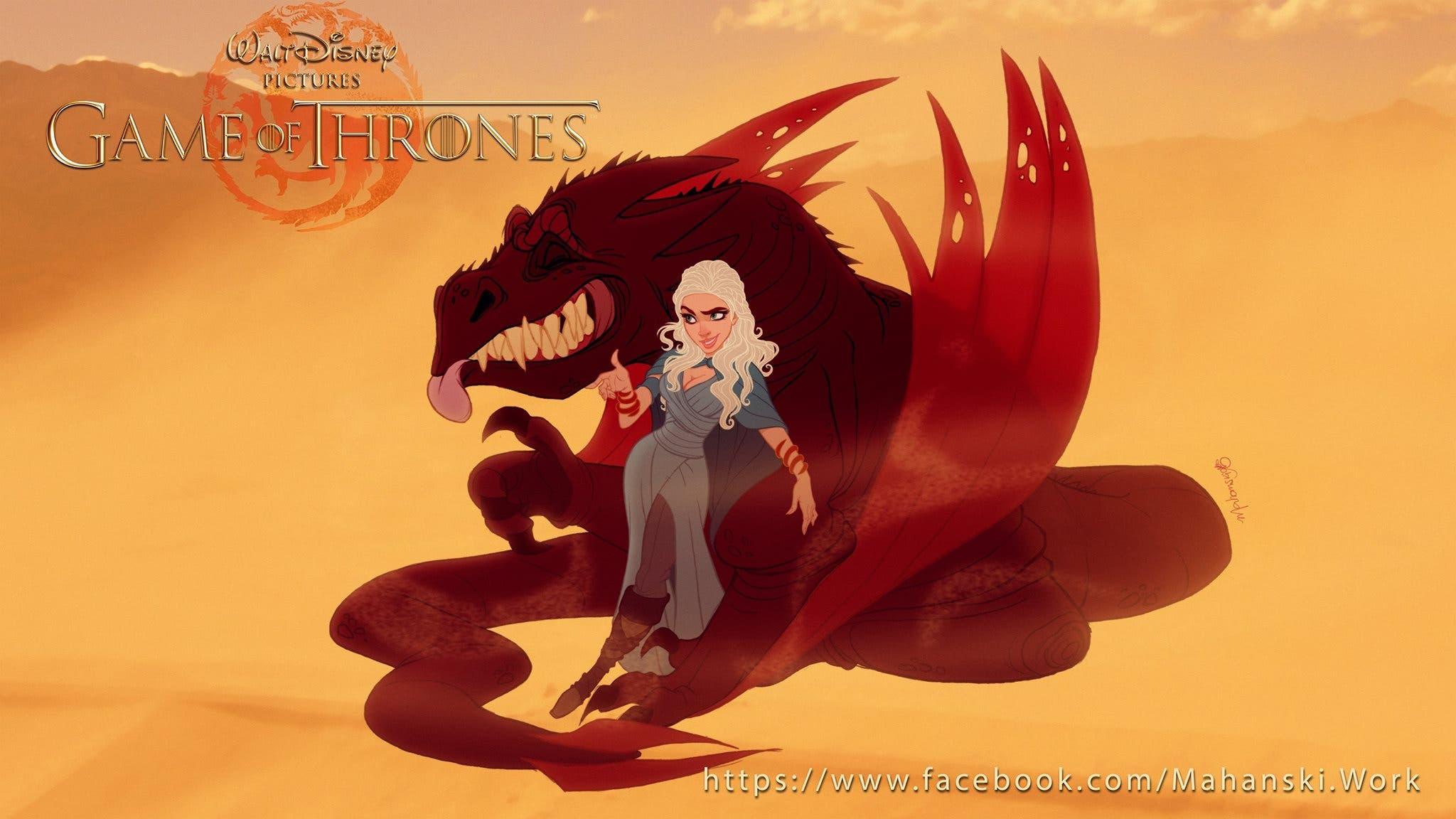 Daenerys Targaryen versión Disney de Juego de Tronos. Por Fernando Mendonça y Anderson Mahanski