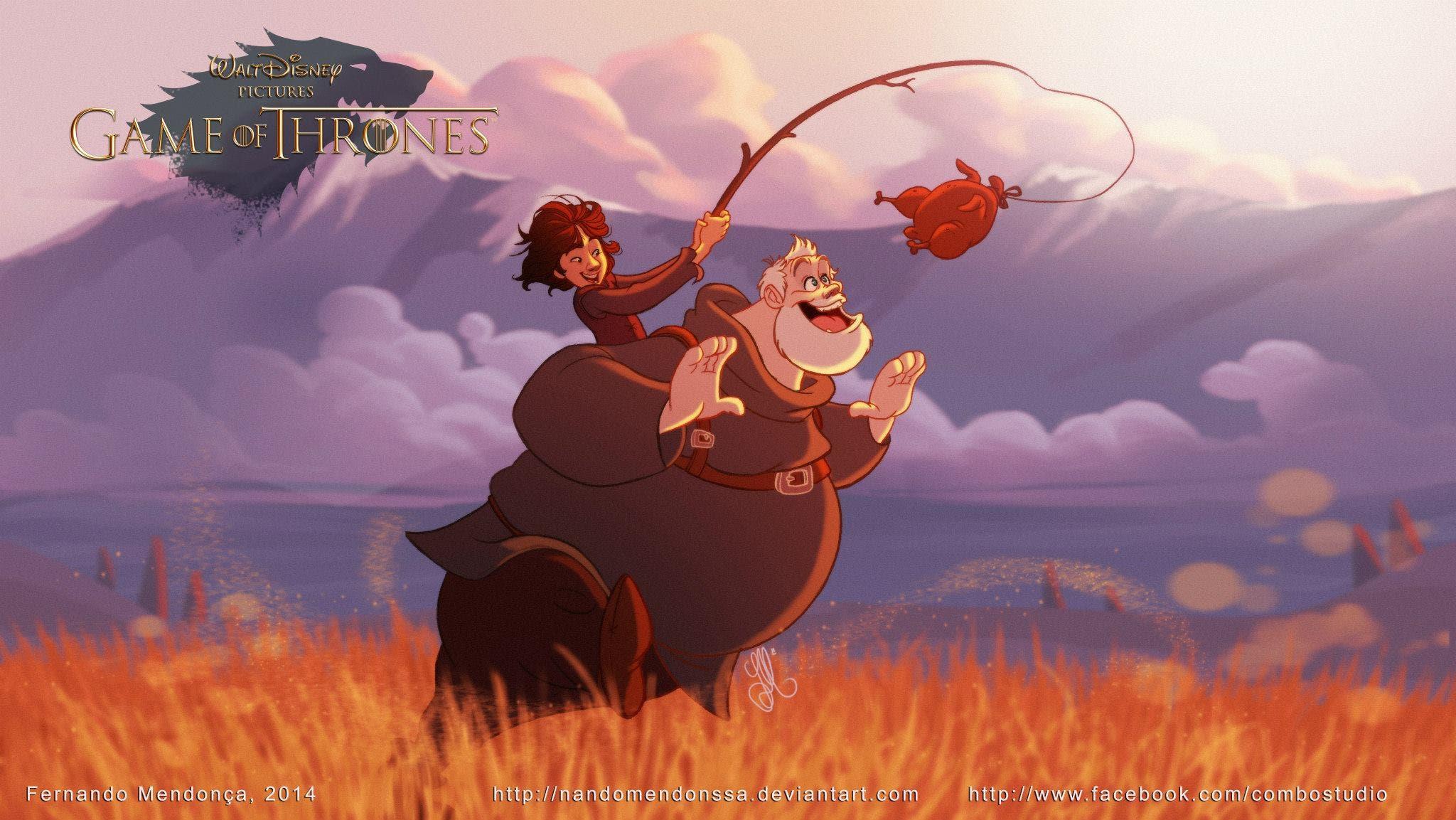 Bran Stark y Hodor versión Disney de Juego de Tronos. Por Fernando Mendonça y Anderson Mahanski