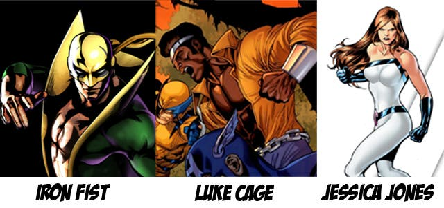 Iron Fist, Luke Cage y Jessica Jones