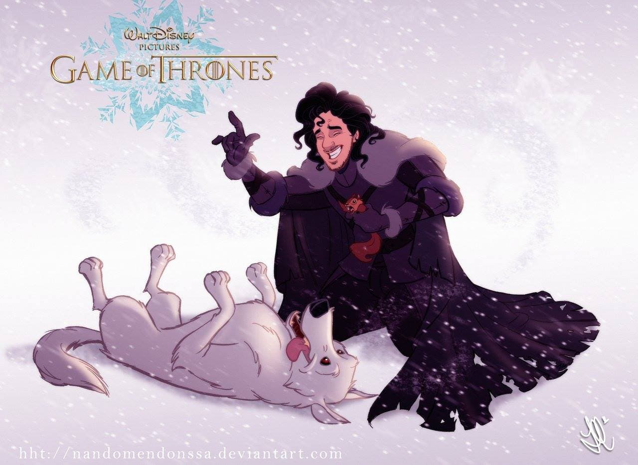 Jon Nieve con su fiel Huargo , Fantasma, versión Disney de Juego de Tronos. Por Fernando Mendonça y Anderson Mahanski