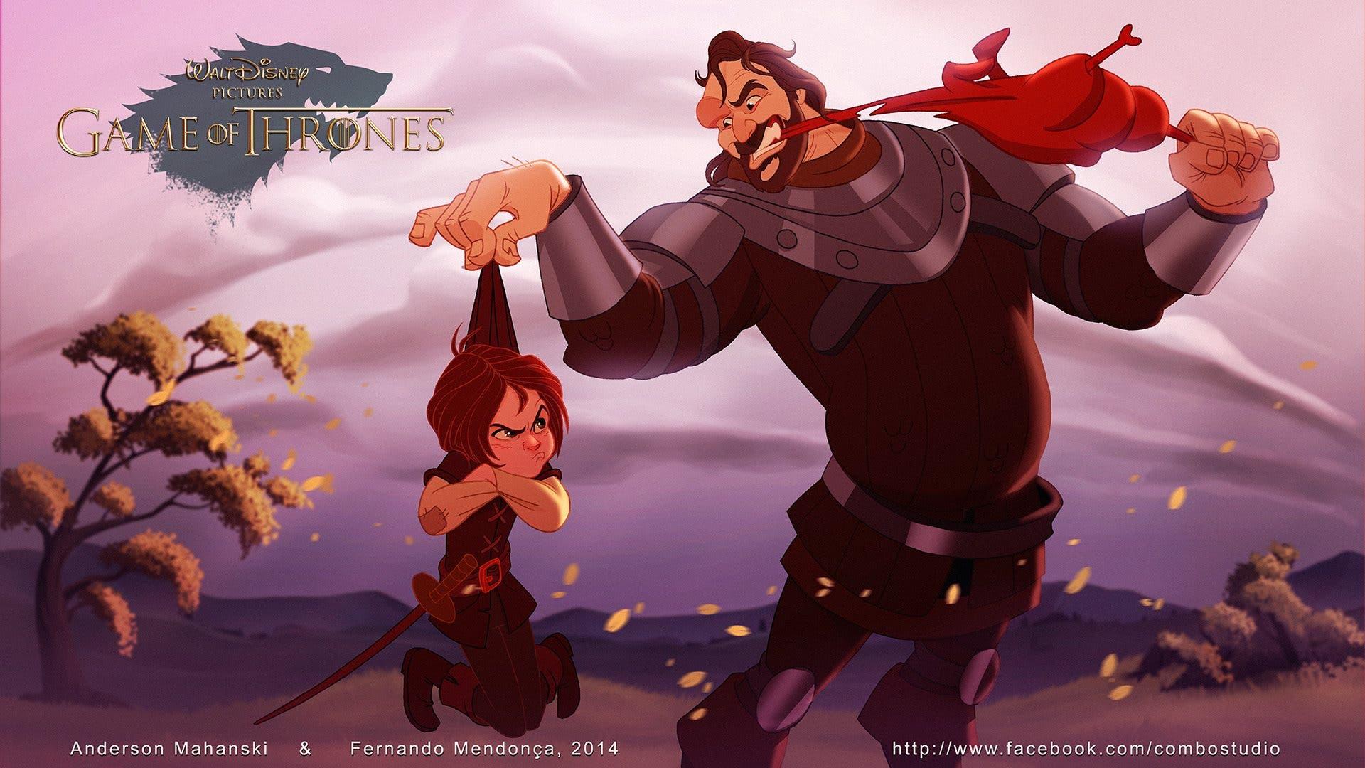 Sandor Clegane (Perro) y Arya Stark versión Disney de Juego de Tronos. Por Fernando Mendonça y Anderson Mahanski