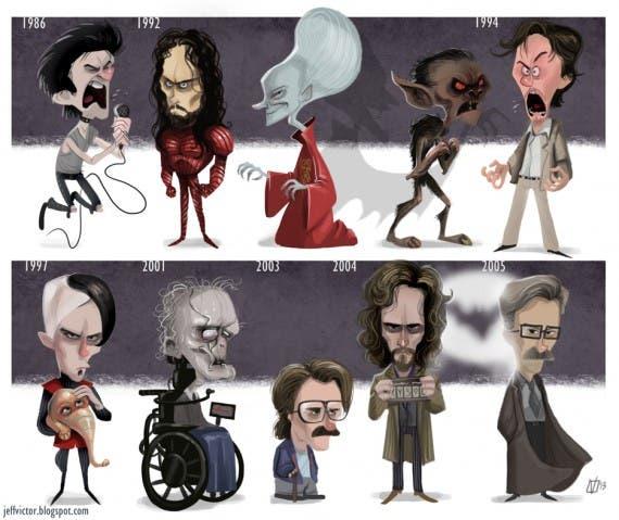 Evolución de Gary Oldman por el dibujante Jeff Victor