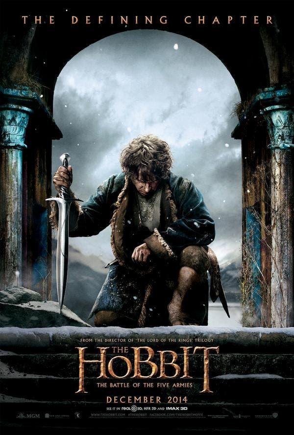 póster de Bilbo en El Hobbit la batalla de los cinco ejércitos