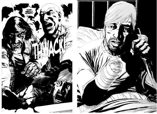 El gobernador le corta la mano a Rick en el cómic