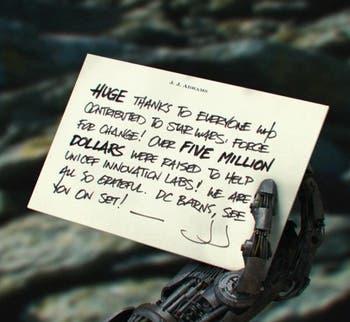 mano robotica star wars episodio VII
