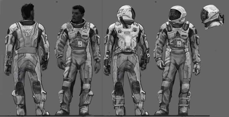Concept Art de los trajes de astronautas de Interstellar