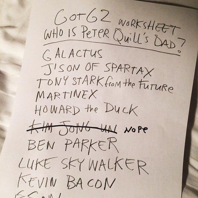 Lista de posibles padres de Star Lord