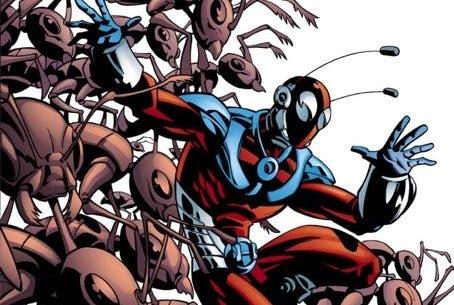Ilustración de cómic del personaje Ant-Man, el Hombre Hormiga.