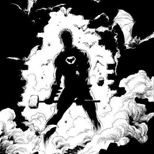 """Dibujo del Batman de """"Tierra Uno""""."""
