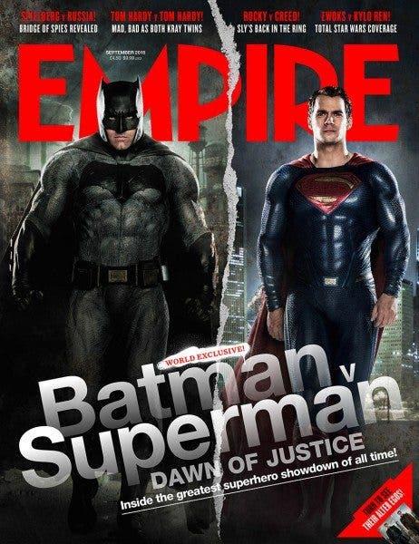 "Portada de la revista estadounidense ""Empire"", dedicada a 'Batman v Superman: El amanecer de la Justicia' (2016)."