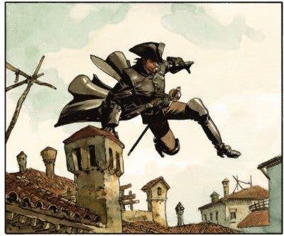 Viñeta sacada de la novela gráfica histórica, 'El Escorpión'.