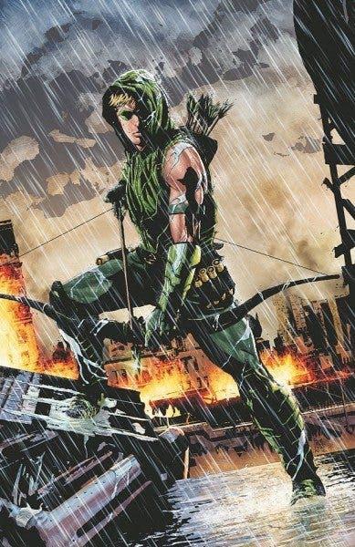 """Ilustración de Green Arrow en la etapa de Jeff Lemire y Andrea Sorrentino para el nUDC con """"The New 52"""" (DC Comics)."""