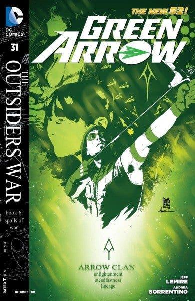 "Portada americana del primer cómics ""Green Arrow: The Outsiders War"", escrito por Jeff Lemire e ilustrado por Andrea Sorrentino (DC Comics)."