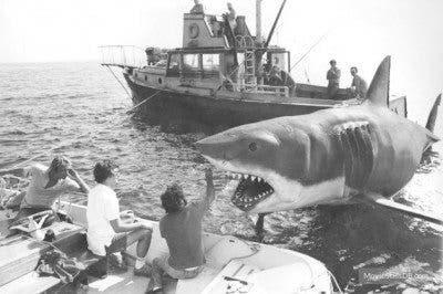 Imagen del rodaje de 'Tiburón' (1975).