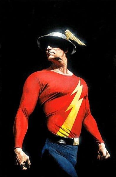 Ilustración de Jay Garrick, el primer Flash de la historia de los cómics.