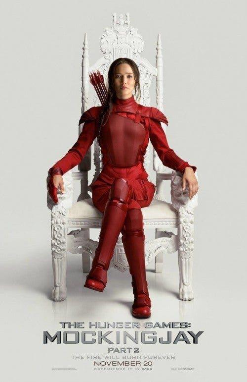 Nueva imagen promocional de 'Los Juegos del Hambre: Sinsajo - Parte 2': Katniss Everdeen en el trono blanco de Panem.