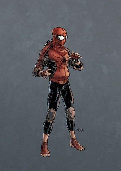 Posible traje del joven Spiderman (Tom Holland) para su reboot en Marvel Studios.