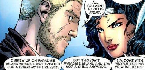 Ilustración de una viñeta conjunta entre Steve Trevor y Wonder Woman (DC Comics).