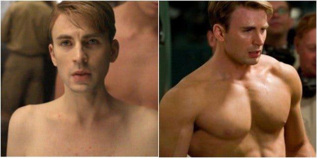 Steve Rogers (Chris Evans), antes y después
