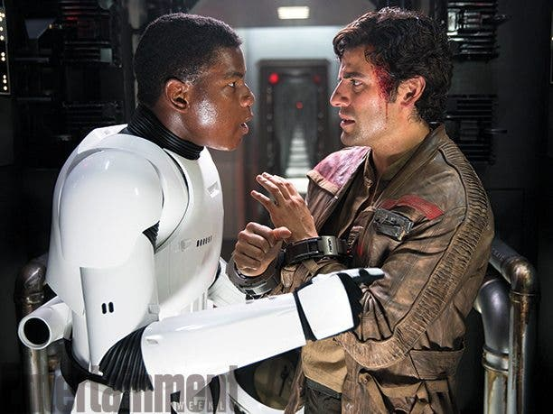 Finn y Poe en star wars el despertar de la fuerza