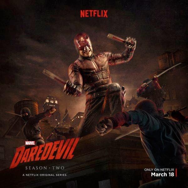 Daredevil rodeado de Ninjas en la segunda temporada de la serie