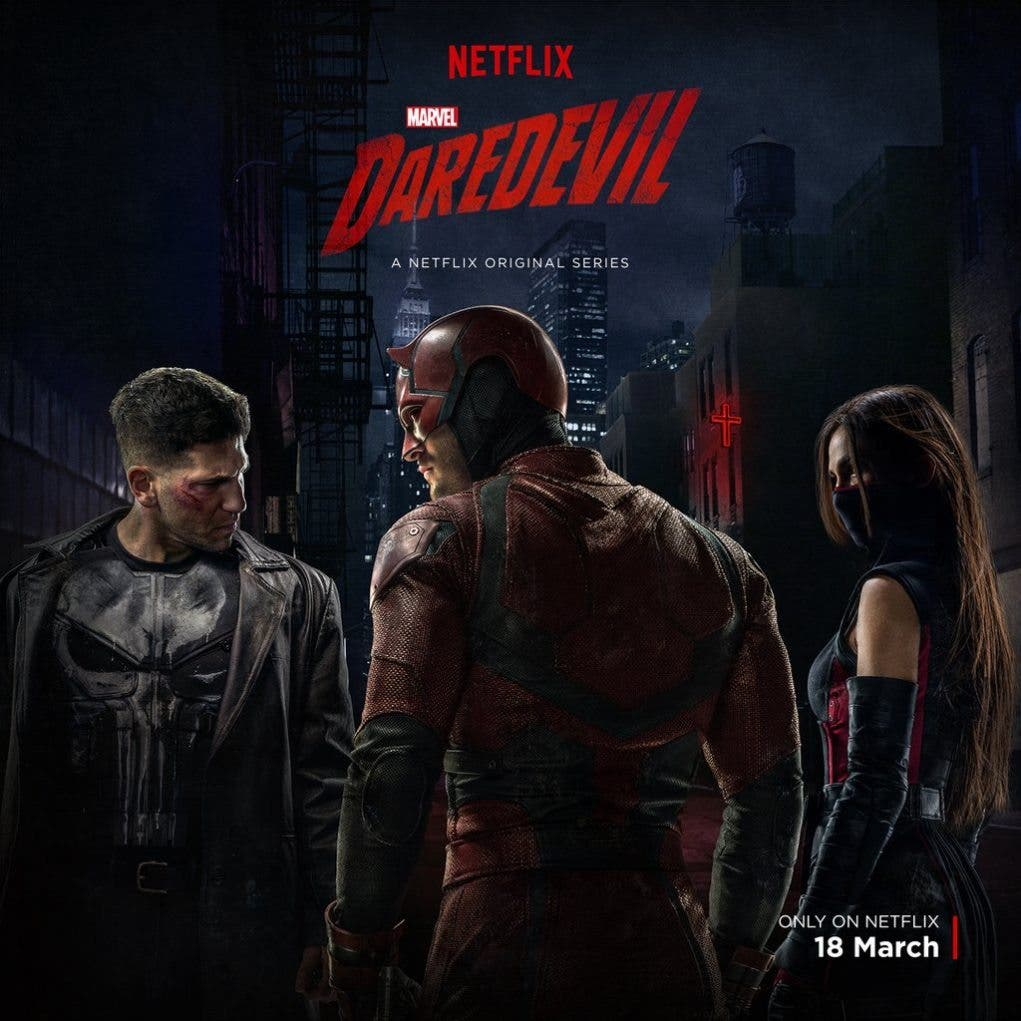 posters de la 2ª temporada de daredevil con The Punisher y Elektra