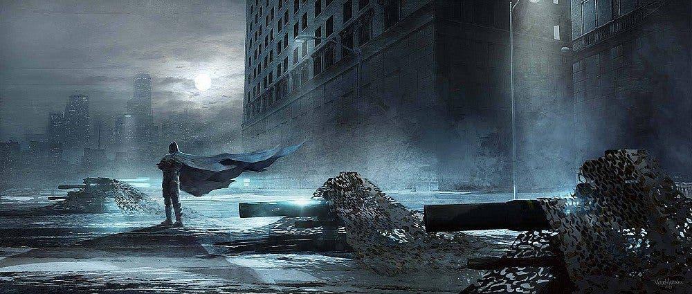 Concept art con Batman vigilante