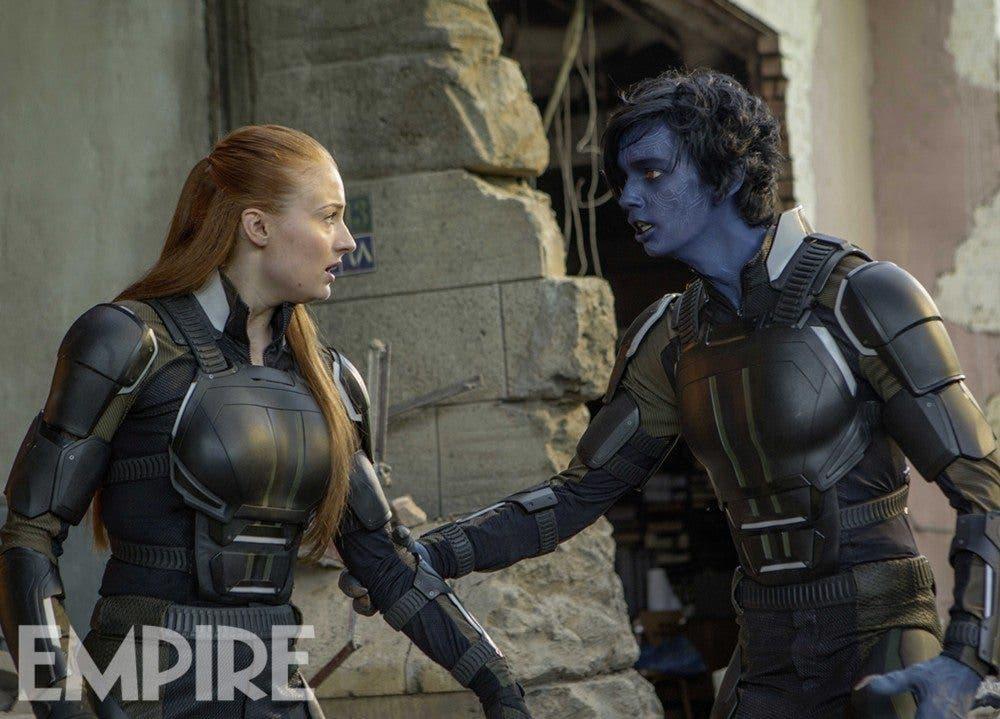 Jean Grey y Rondador nocturno en X-Men Apocalipsis