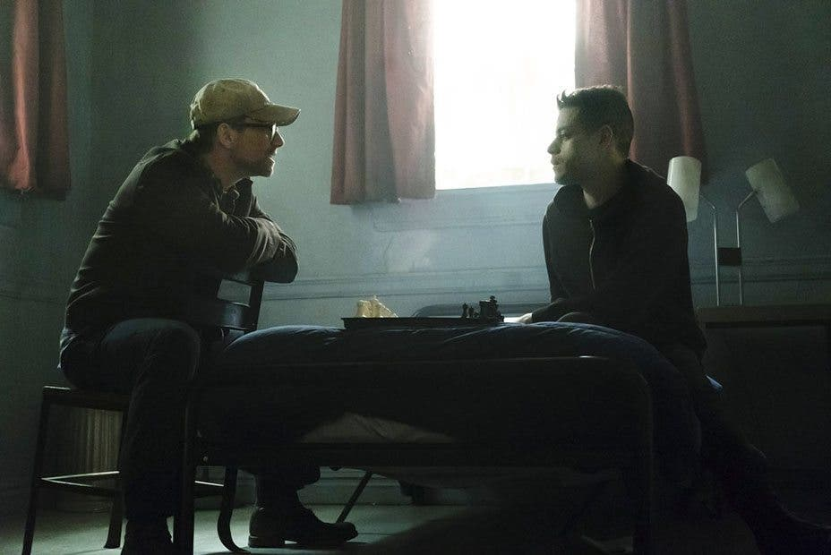 MR. ROBOT -- Pictured: (l-r) Christian Slater as Mr. Robot, Rami Malek as Eliot Anderson -- (Photo by: Peter Kramer/USA Network)
