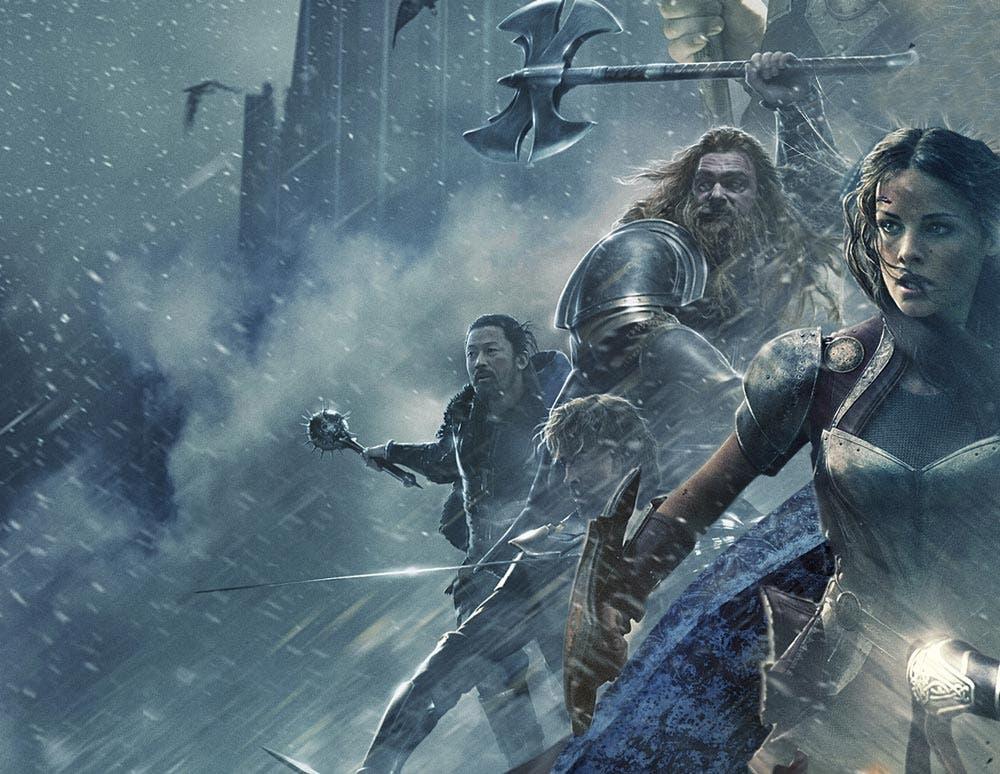 Los tres guerreros y Lady Sift en Thor: Ragnarok