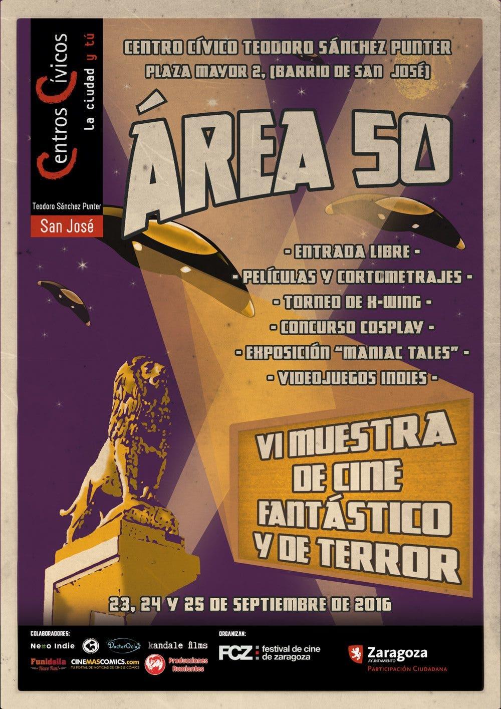 Cartel Área 50 | VI muestra de cine fantástico y de terror de Zaragoza