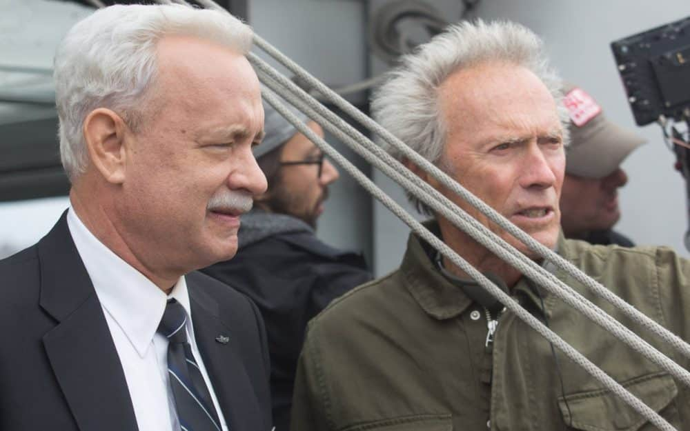 Tom Hanks y Clint Eastwood en el rodaje de Sully