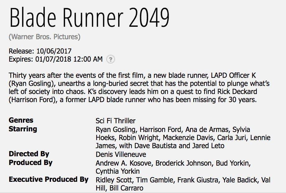 Ficha y sinopsis oficiales de Blade Runner 2049 (2017)
