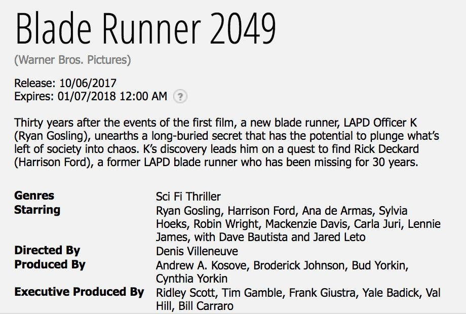 sinopsis oficial Blade Runner 2049 (Blade Runner 2)