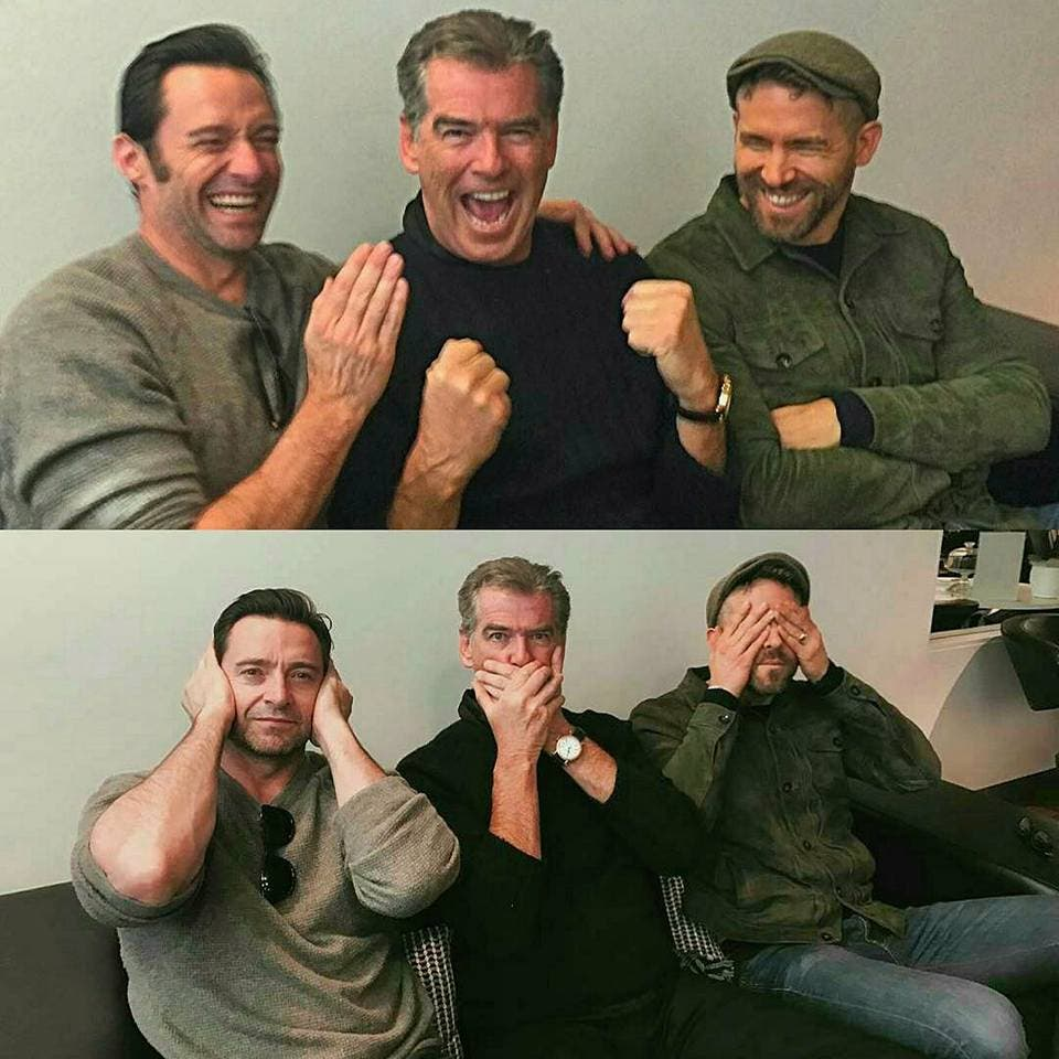 Hugh Jackman con Ryan Reynolds y Pierce Brosnan (Deadpool 2)