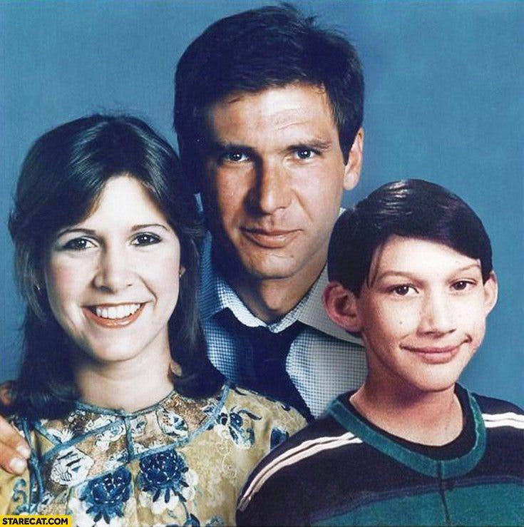 Han Solo y Leia en la saga de Star Wars