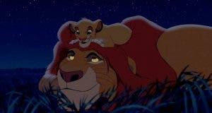 Simba y Mufasa en la película de 'El Rey León' de acción real